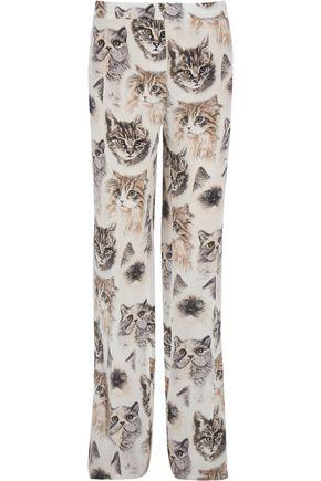 STELLA McCARTNEY Printed silk crepe de chine wide-leg pants