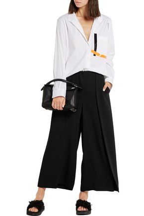 CEDRIC CHARLIER Pleated satin-jersey wide-leg pants