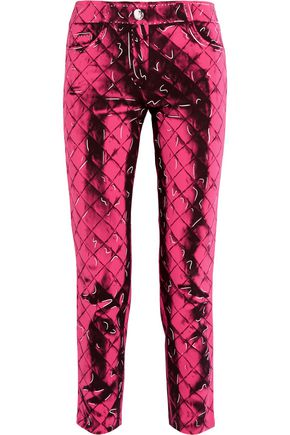 MOSCHINO Printed crepe slim-leg pants