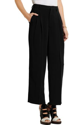 ANTONIO BERARDI Cropped velvet-trimmed stretch-crepe wide-leg pants