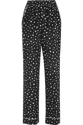DOLCE & GABBANA Polka-dot silk-blend wide-leg pants