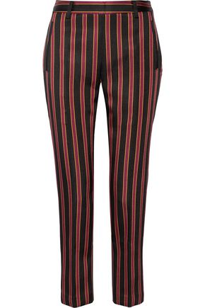 TOMAS MAIER Striped satin-twill tapered pants