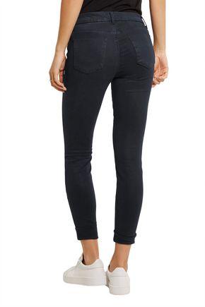 J BRAND Cropped stretch-sateen skinny pants