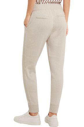 BRUNELLO CUCINELLI Embellished cashmere and silk-blend track pants