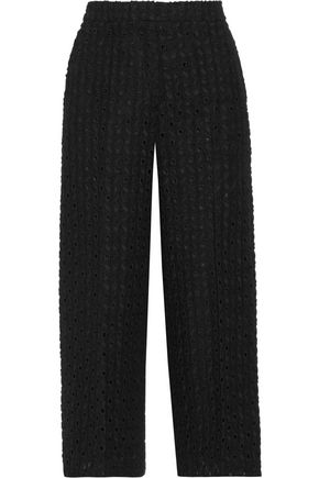 ROCHAS Cropped embroidered cotton and linen-blend wide-leg pants
