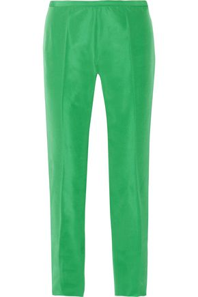 ROCHAS Cropped satin-twill straight-leg pants