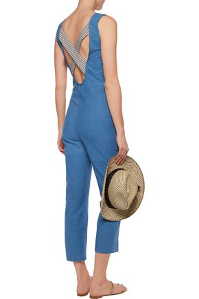 6231c82b70e1 ... SOLID   STRIPED Cotton-chambray jumpsuit