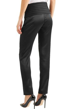 MOSCHINO Satin slim-leg pants