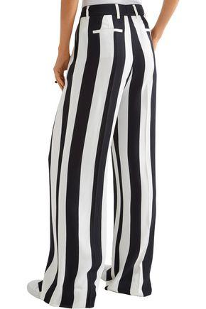 MSGM Pleated striped crepe wide-leg pants
