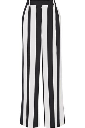 MSGM Pleated striped crepe wide-leg pants