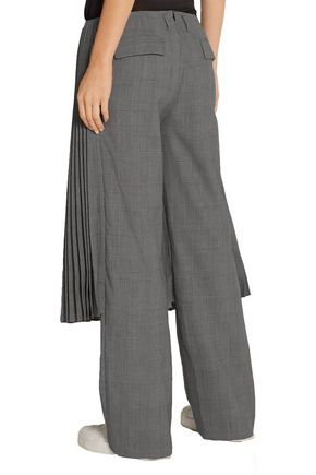 FACETASM Pleated checked wool straight-leg pants