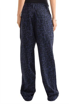 SIBLING Leopard-print brushed cotton-twill wide-leg pants