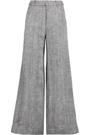 ZIMMERMANN Master herringbone linen and silk-blend wide-leg pants