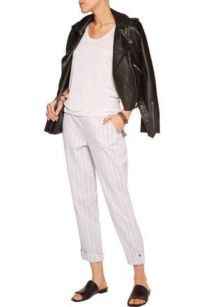 SPLENDID Striped cotton-blend straight-leg pants