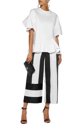 GOEN.J Satin and canvas wide-leg pants