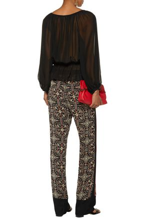 TALITHA Printed silk-georgette straight-leg pants