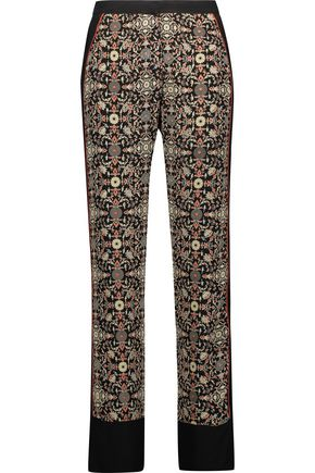 TALITHA Printed silk-georgette straight-leg pants