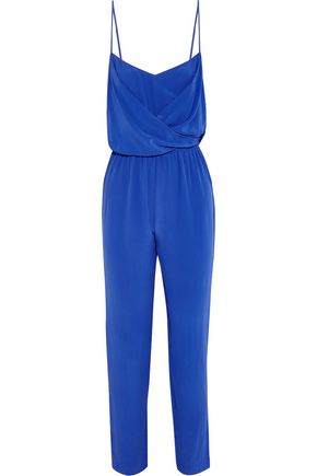VIX Wrap-effect washed-silk jumpsuit