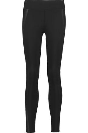 J BRAND Leather-paneled scuba skinny pants ...