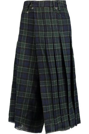 R13 Wrap-effect pleated wool-flannel culottes