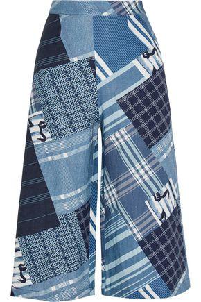 MIGUELINA Dana patchwork-print linen wide-leg pants