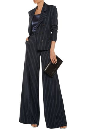 ROBERTO CAVALLI Striped wool-blend wide-leg pants