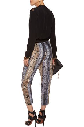 JUST CAVALLI Printed crepe tapered pants