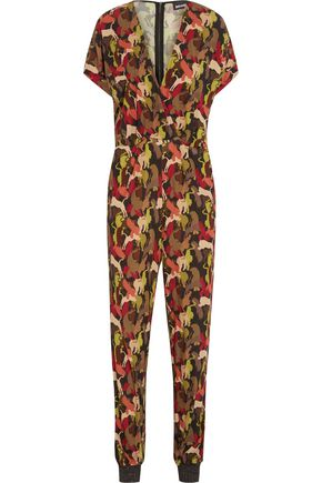 JUST CAVALLI Printed stretch-crepe jumpsuit