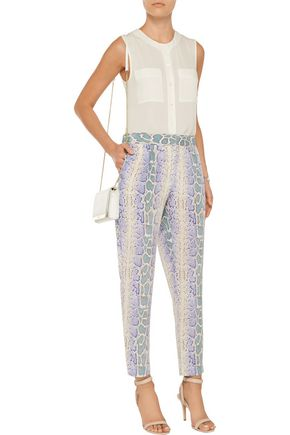 EQUIPMENT Snake-print washed-silk tapered pants
