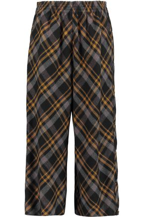 MAISON MARGIELA Studded tartan wool wide-leg pants