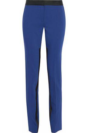 PRABAL GURUNG Silk satin-trimmed wool-blend slim-leg pants