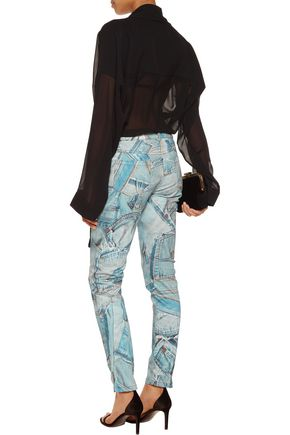 MOSCHINO Printed cotton-blend slim-leg pants