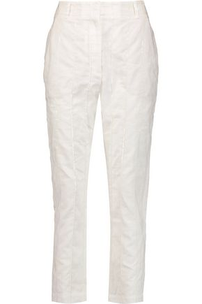BRUNELLO CUCINELLI Sequin-embellished linen and cotton-blend tapered pants