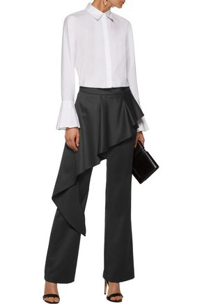 GOEN.J Layered ruffled wool-blend cady straight-leg pants