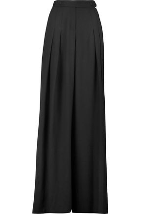 JUST CAVALLI Pleated crepe wide-leg pants