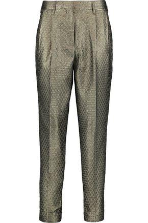 ETRO Cropped metallic jacquard slim-leg pants