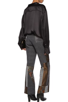 ETRO Bianca patchwork wool, silk-satin and velvet straight-leg pants