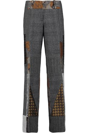 ETRO Bianca patchwork wool, silk-satin and velvet straight-leg pants