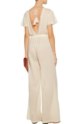 LOVESHACKFANCY Crochet-paneled cotton-voile jumpsuit