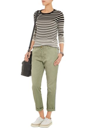 CURRENT/ELLIOTT The Cropped Buddy cotton-twill straight-leg pants