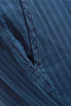 CURRENT/ELLIOTT Striped cotton straight-leg pants