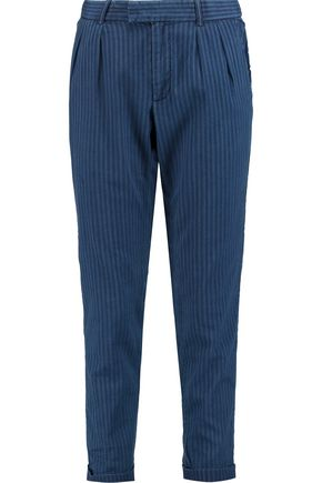 CURRENT/ELLIOTT Striped cotton straight-leg pants