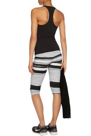 NORMA KAMALI Cropped striped stretch-jersey leggings