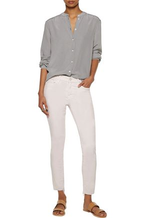 MOTHER Distressed stretch-cotton corduroy skinny pants