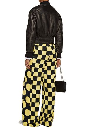 MSGM Two-tone printed crepe wide-leg pants