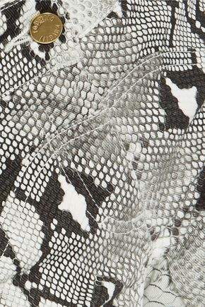 ROBERTO CAVALLI Snake-print cotton-blend slim-leg pants