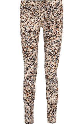 ROBERTO CAVALLI Embroidered printed twill slim-leg pants