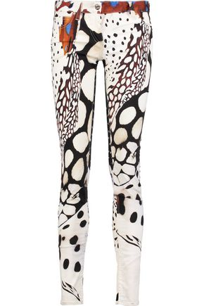 ROBERTO CAVALLI Printed cotton-blend twill skinny pants