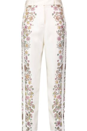 ROBERTO CAVALLI Embellished printed silk-twill straight-leg pants