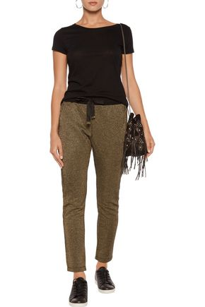 ROBERTO CAVALLI Metallic cotton-blend track pants